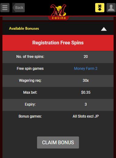 Reg. Free Spin Bonus